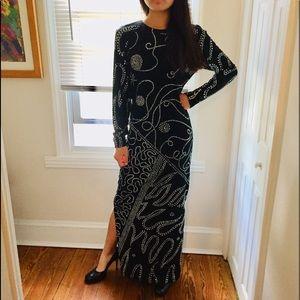 "Vintage ""studio 54"" size 4 long rhinestone dress"